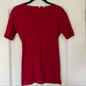 KOTN Red Carmine Short Sleeve Fitted Crew